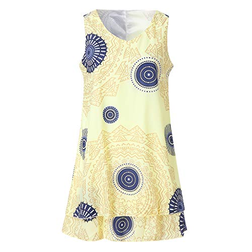 BHYDRY Womens Plus Size Print Midi Dress Loose Shift Sleeveless Tank Vest Sun Dress(Amarillo,XX-Large)