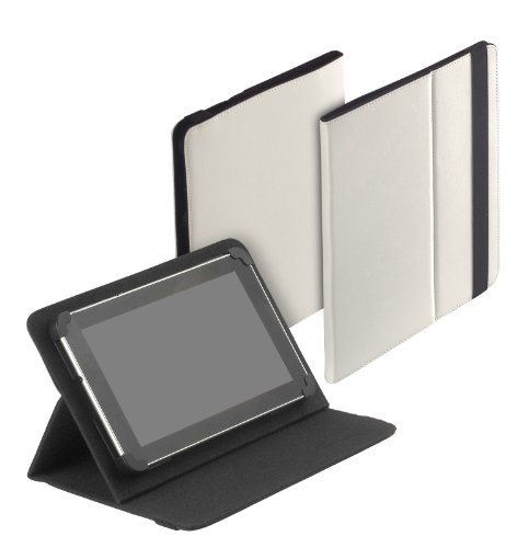 yayago Tablet Book-Style Tasche in Cremeweiß mit Standfunktion - Ultra Flach - für Blaupunkt Endeavour 1000 / Odys Noon / Jay-tech Multimedia-Tablet-PC 9000 / PA1010DA / Asus MeMo Pad Full HD 10 & weitere Modelle