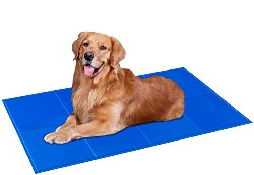 pedy Kühlmatte für Hunde, Kühldecke Hunde Katzen mit Ungiftiges Gel, Wasserdicht Reißfest Haustier Eismatte für Hundeboxen, Hundehütten Betten (XL)