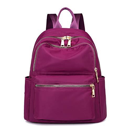 XUEREY Women's Waterproof Multi-Pocket Backpack Shoulder Bag Nylon Travel School Bag Laptop Rucksack (Purple)