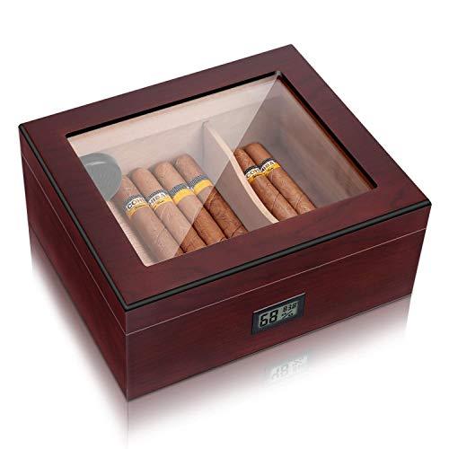 High Gloss Cigar Humidor Cigar Box, Real Solid Spanish Cedar Wood, Luxury Hygrometer and Humidifier, Desktop Humidors Gloss Black (25-50 Walnut)