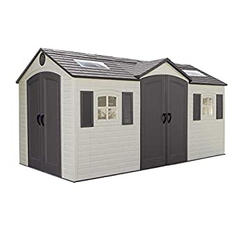 Lifetime 60079 Outdoor Storage Dual Entry Shed 15 x 8 ft Desert Sand