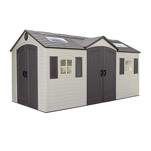 Lifetime 60079 Outdoor Storage Dual Entry Shed, 15 x 8 ft, Desert Sand