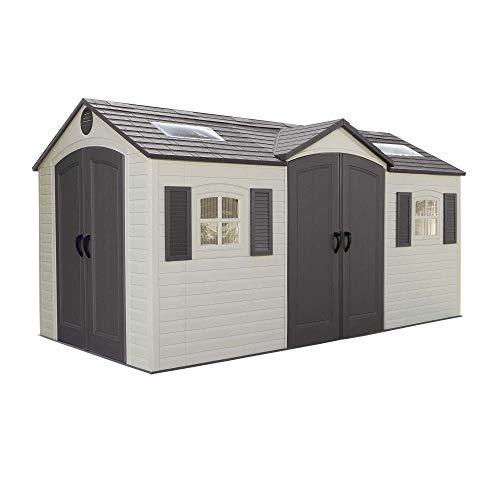 LIFETIME 60079 Aufbewahrungsschuppen für den Außenbereich, Desert Sand, 15 x 8 ft - Double Doors