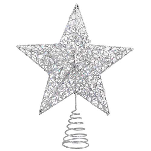 Tomaibaby Adorno de Árbol de Navidad Estrella Adornos de Decoración de Árbol de Navidad Brillante (Plata)