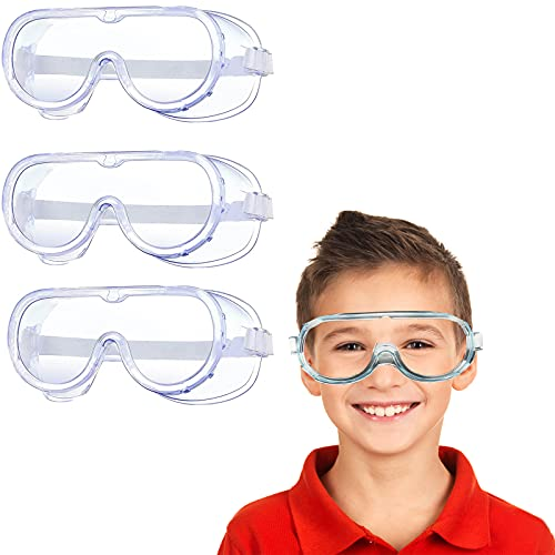 3 Pieces Safety Goggles Boys Girls Protective Goggles Crystal Clear Eye Protection