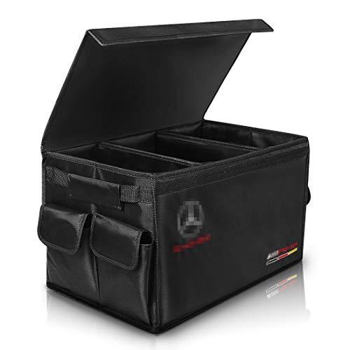 AUTOPRE MODIFY Kofferraum Organizer Auto, Kofferraumtaschen mit Klett & Seitentaschen, Tragbar Multi Fächer Auto Organizer Aufbewahrungstasche für Auto, Wasserdicht - Schwarz