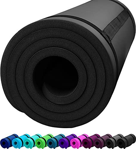 ReFit Fitnessmatte Yogamatte Schwarz Black 1.5 cm rutschfest gelenkschonend geruchsneutral EXTRA dick weich groß 183 cm x 61 cm x 1.5 cm mit praktischem Trageband Fitness Sport Yoga Matte