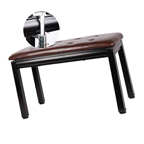 LXLAMP Duet Doble Taburete de Piano con Espacio de Almacenamiento, Construcción de Madera Dura Sólida, Asiento Acolchado de Cuero de PU banqueta Piano banqueta Piano Regulable (Color : Brown)