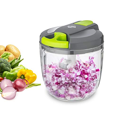 LISA ENJOYMENT Pull Food Chopper 4 Cup Manual Food Processor Large Capacity Handheld Pro Onion Chopper Dicer for Making Salad, Sauce, Smoothies and Hamburger Meat
