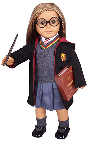 ebuddy Hermione Inspired Doll Clothes Outfits for American Girl Dolls and 18' Dolls:10pc Sets (Includes Shirt, Skirt, Sweater, Tie, Socks, Robe, Magic Wind, Glasses, Imitate Book and Shoes)