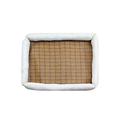 balderdash01 Dog Beds for Large Dogs Dog Kennel Summer Breathable 100cm Dog Cooling Mat Puppy Waterproof and Easy to Clean Yorkshire Terrier-Beige-44X35cm