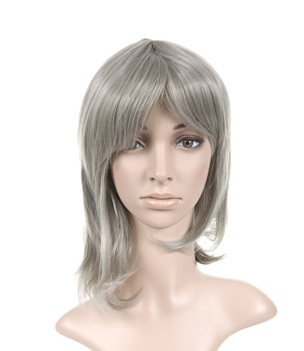 Medium Gray with Bangs Short Length Anime Cosplay Costume Wig