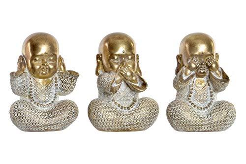 D,casa - Set 3 figurita Buda de Suerte poliresina Decoracion 16 cm (Ver, oir, callar)