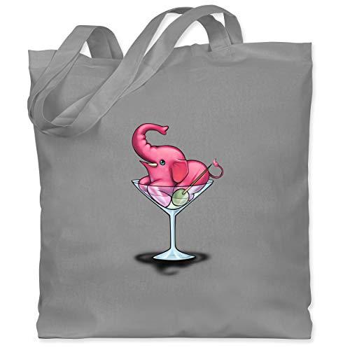 Comic Shirts - Rosa Elefant - Martini - Unisize - Hellgrau - XT600_Jutebeutel_lang - WM101 - Stoffbeutel aus Baumwolle Jutebeutel lange Henkel