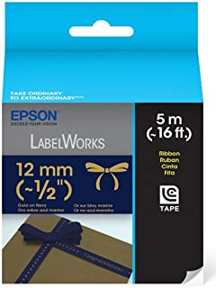 Fita para rotuladora Epson com 12mm x 5m Dourado/Azul marinho