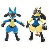 APcjerp Shiny Lucario Plush Doll Figure Toy - 2pcs/Set Lucario 30CMShiny Lucario 28CM Plush Toy Gift