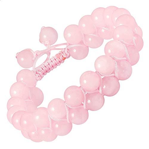 mookaitedecor Quartz Rose Bracelet en Pierre Semi Précieuse,Réglable Bracelet Perles Double Couche Fait Main pour Unisexe