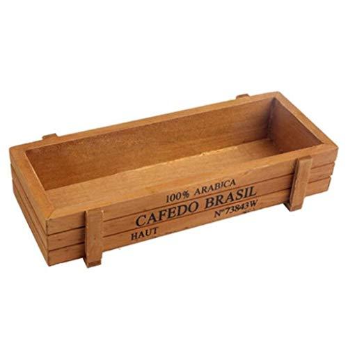 Macetero de madera para jardín, patio, micro paisaje, flor suculenta, maceta marrón, cómoda y ecológica