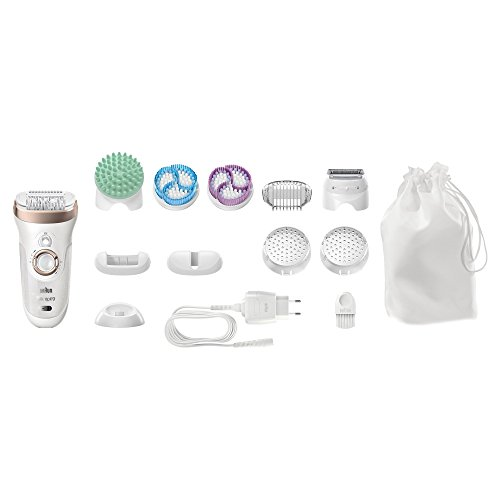 Braun Silk SE9-961 Epilator for Long-Lasting Hair Removal Includes a Bikini Styler High Frequency Massage Cap Shaver and Trimmer Head Cordless Wet and Dry Epilation for Women, 2 Pin Plug