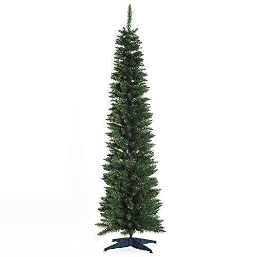 HOMCOM Árbol de Navidad Artificial Árbol con Soporte 180cm 390 Ramas Ecológico PVC Verde