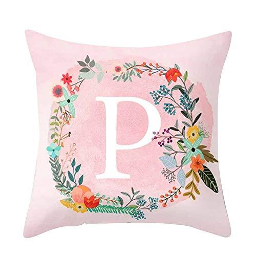 Amesii Funda de cojín con diseño de letras rosas para sofá, cama, decoración del hogar, coche, funda de cojín, poliéster, P, 45 x 45 cm