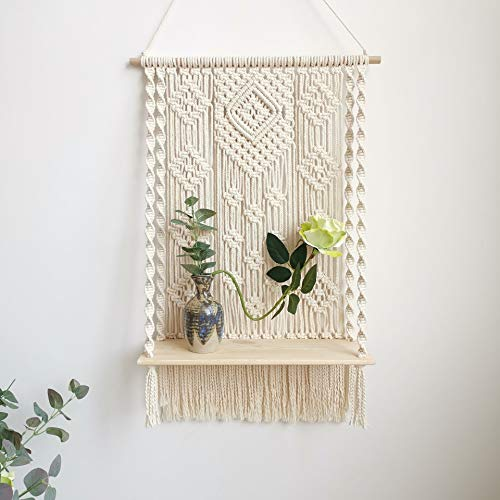 BLUETTEK Macrame Wall Hanging Shelf, Boho Decorative Floating Plants Swing Hanging Shelf Wooden Storage Hanger, Handmade Cotton Rope Woven Home Wall Decor