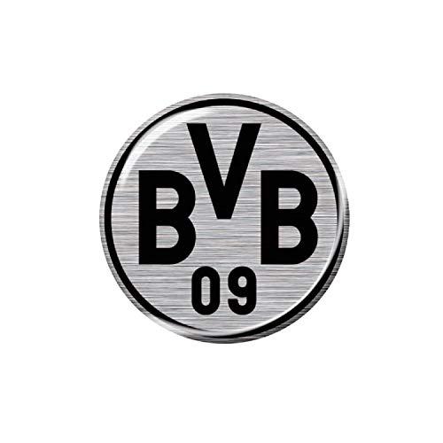 Borussia Dortmund 3D Autoaufkleber Logo 6 cm - Silber/schwarz - Aufkleber, Sticker BVB 09 - Plus Lesezeichen I Love Dortmund