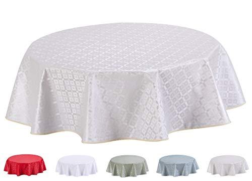 Mantel de Hule, con Relieve, Redondo 140 cm Blanco