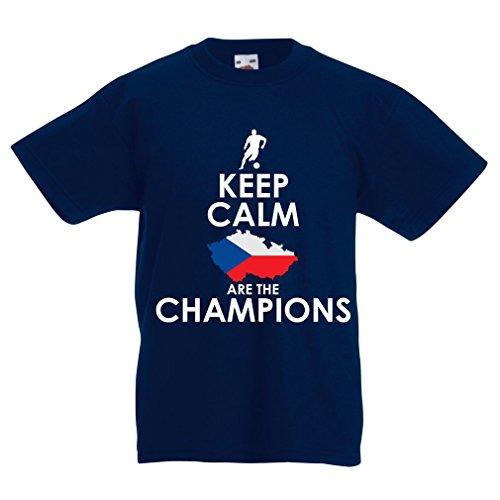 N4496K La Camiseta de los niños Czechs Are The Champions (9-11 Years Azul Oscuro Multicolor)
