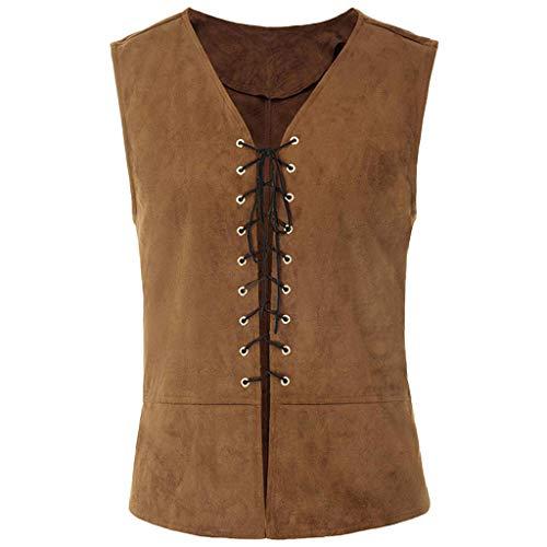 AOGOTO New Vintage Hombres medievales góticos renacimiento sin mangas con cordones para colgar un chaleco caqui XL