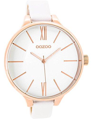 Oozoo Damenuhr mit Lederband 45 MM Rose/Weiss/Weiss C9540