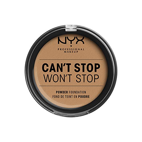 NYX Professional Makeup Polvos de sol Cant Stop Wont Stop Full Coverage Powder Foundation, Acabado mate, Control de brillos, Larga duración, Fórmula vegana, Tono: Natural Buff