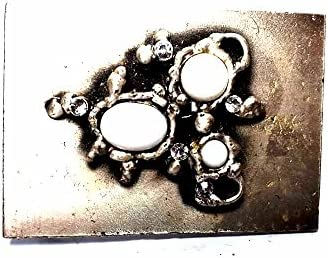 Hebilla para cinturón de 4 cm, piedras blancas, color plateado antiguo, hebillas de metal o piedras o brillantes o esmaltes o cristales muranos y 1 llavero BSS cc2