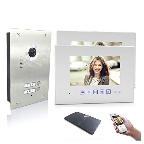 2 Familienhaus Video Türsprechanlage 7'' Monitor Kamera 170° Edelstahl, Monitore in Glas, Farbe: Mit, Größe: 2x7'' Monitor weiß mit WLAN Außenstation Silber
