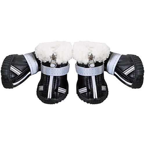 Dog Shoes Pfotenschutz - Hundeschuhe Hundestiefel Anti-Rutsch Wasserdicht Haustier Schuhe Mit Reißverschluss für Klein Hunde Rot Schwarz