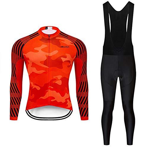Moxilyn Fietsshirt voor heren, lange mouwen, fietsshirt, set fietskleding, winddicht, lange mouwen, met 9D gel zitkussen, sport & vrije tijd, MTB fietsshirt voor herfst