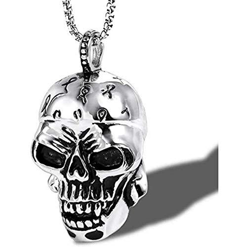 NC110 Collar de Calavera de Acero Inoxidable, Colgante de Titanio, Adornos Punk de Calavera Grande de Moda para Hombres YUAHJIGE