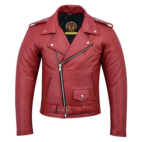 Warrior Brando motorcykeljacka i äkta läder för män   kohud räfflad   äkta läder   motorcykel biker Perfecto Marlo jackor (6XL, röd)