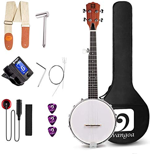 Vangoa 5 String Banjo MINI, Closed Solid Back with beginner Kit,...