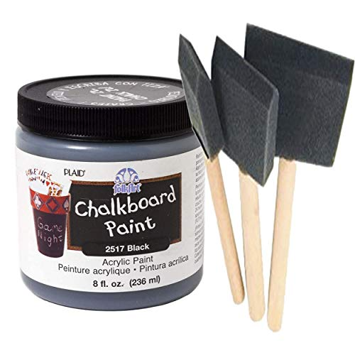 Chalkboard Paint Kit | Quality Black Chalkboard Paint with Three Foam Brushes | Wooden Handles in 3 Sizes | Create usable Chalkboard Surfaces on Furniture, Doors, Drawers