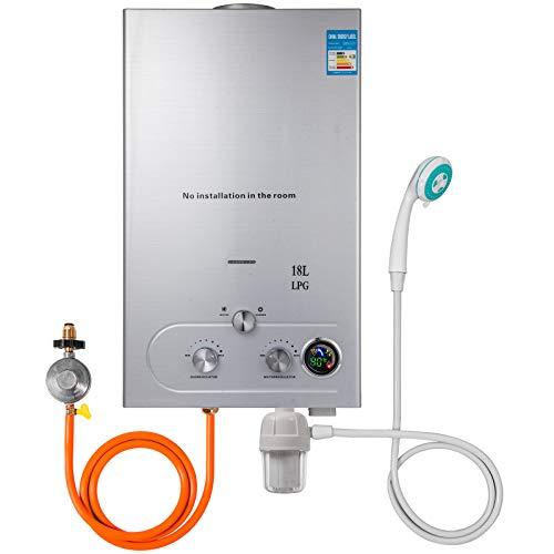 Hopopula Upgrade Typ 18L LPG Gas-Warmwasserbereiter ohne Tank mit Duschkopf Kit Wasserfilter & Gasregler(18L LPG)