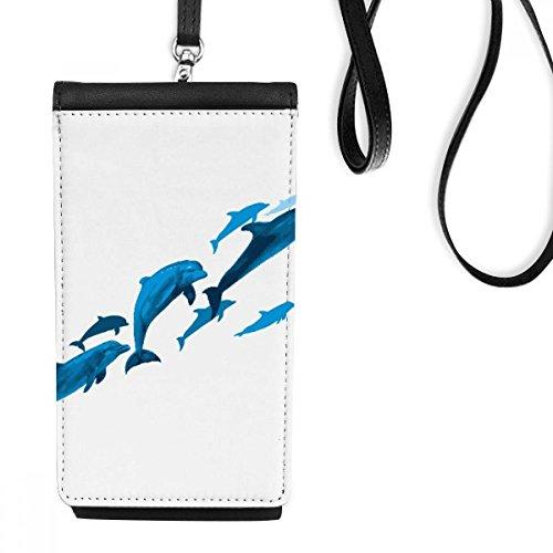 DIYthinker Dolfijn Grote Kleine Kunstleer Smartphone Hangende Handtas Zwart Telefoon Portemonnee Gift