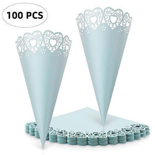 CNNIK 100 Pcs Cono de Papel Blanco de Boda para Petalos, Confeti y Arroz con Adhesivo de Doble Cara Decoración Boda