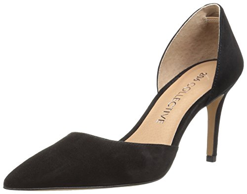Amazon Brand - 206 Collective Women's Adelaide D'Orsay Dress Pump, black suede, 8 B US