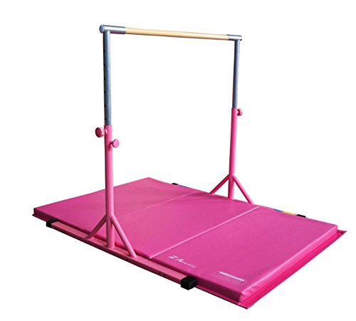 Z ATHLETIC Expandable, Adjustable Height Kip Bar & 4ft x 6ft x 2in Mat for Gymnastics, Training (Pink)