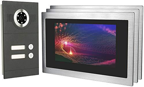 GVS IP Video Door Intercom, Flush-Mounted Door Station IP65, 3x 10 Inch Monitor, Mobile Phone App, HD Camera 115°, Door Opener Fact, 32GB Photo/Video Memory, PoE Switch, 2 Family House Set, AVS3098U