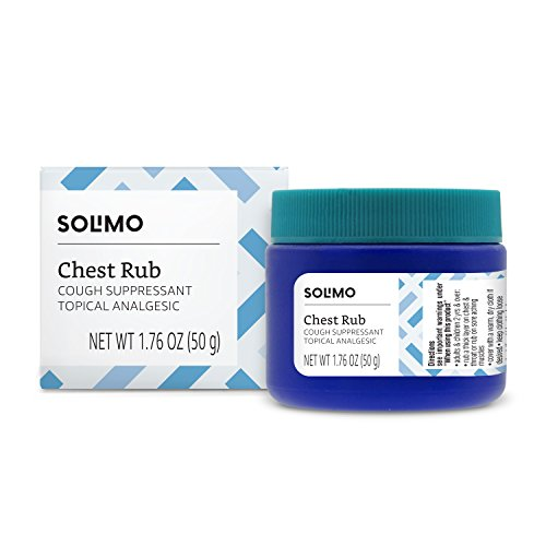 Amazon Brand - Solimo Chest Rub Cough Suppressant and Topical Analgesic, 1.76 Ounce