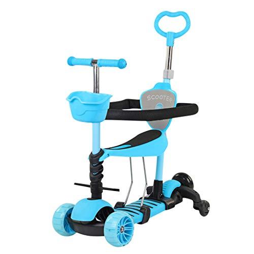Winkey@ Multifunktionales Pedal-Schiebewagen für Kinder yo Auto DREI in einem einzigen Fuß mit sitzbarem Blitzrad-Hubroller mit Leitplanke (Blau)