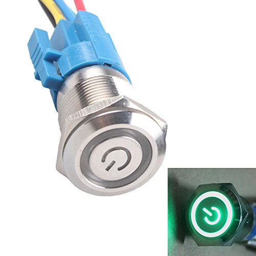 Supmico Interrupteur Bouton Poussoir en Métal LED Lumière Eclairage Vert Oeil de l'Ange 19mm 12V 5A pour Voiture Moto Prise de courant